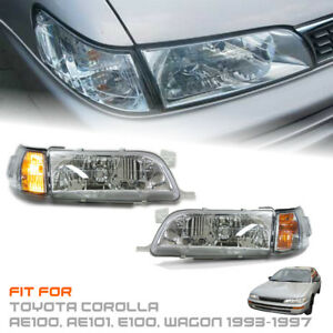 Image Is Loading Front Chrome Headlight Clear Lens Toyota Corolla Ae100