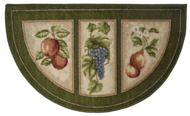 19x32 Slice Wedge Kitchen Rug Mat Green Washable Mats Rugs Fruit Grapes Pears For Sale Online Ebay