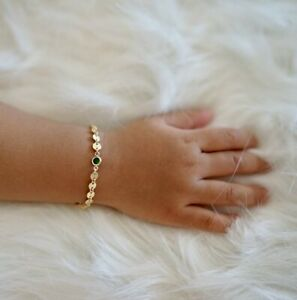 Childrens-Jewelry-Emerald-Birthstone-5-034-Bracelet-in-18kt-Yellow-Gold-Over-Child