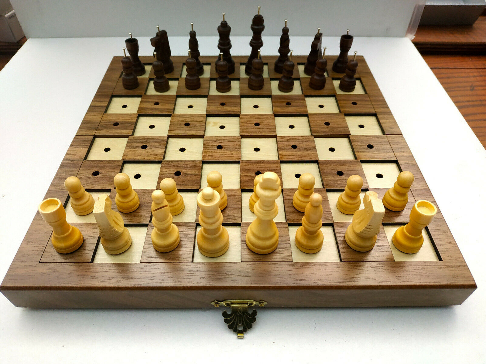 Wooden luxury chess board for Blind sight impairosso people