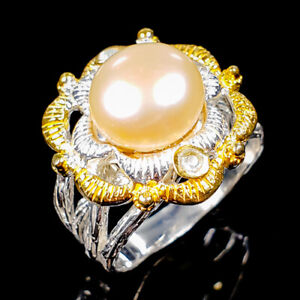 Handmade SET Natural Pearl 925 Sterling Silver Ring Size 7.5/R123994