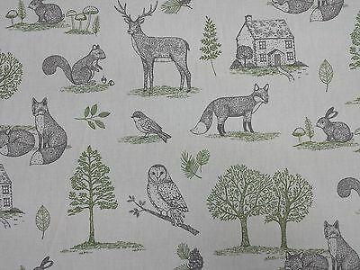 Clarke and Clarke New Forest Foxes Owls Designer Curtain Upholstery Craft Fabric