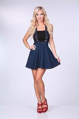 Women Junior Denim Indigo Blue/ Dress Overall skirt mini S,M,L CI SONO SK45