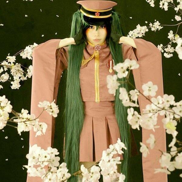 New Vocaloid Hatsune Miku Olive Green Cosplay wig + 2 Ponytails 120cm