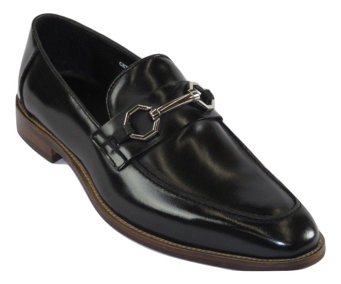 Mens Leather Dress shoes Zota Unique European Oxford Slip on Bit Black