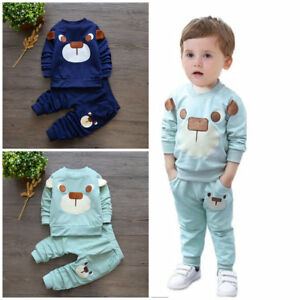 4f43fb205 Image is loading baby-boys-girls-outfits-tracksuit-pullover-top-pants-