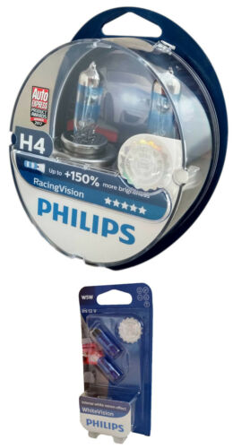 W5W 12342RVS2 H4 PHILIPS Racing Vision 150/% X-treme 12V 60//55W P43t 2er Set