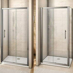 Aica Bathroom Shower Enclosure Chrome Framed Sliding Door Glass ...