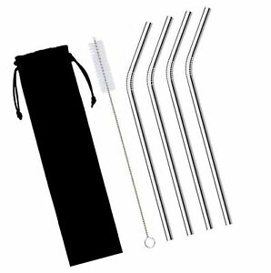 4Pcs Straight Metal Stainless Steel Drinking Straws with 1Cleaning Brush