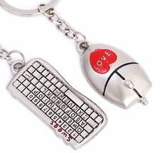 Mouse & Keyboard Couple Key Chain Ring Keyring Keyfob Love Gifts UK