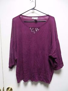 Style-amp-Co-Deep-Purple-Crew-Neck-Top-w-Sequin-Design-and-3-4-Sleeves-sz-1X