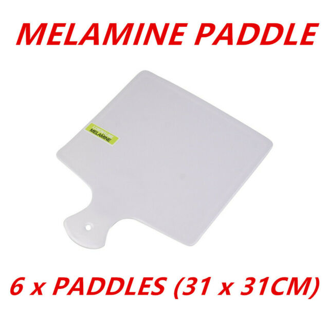 6 x Melamine Square Serving Paddles With Handle 31cm Tray Plate Kitchen Dinner