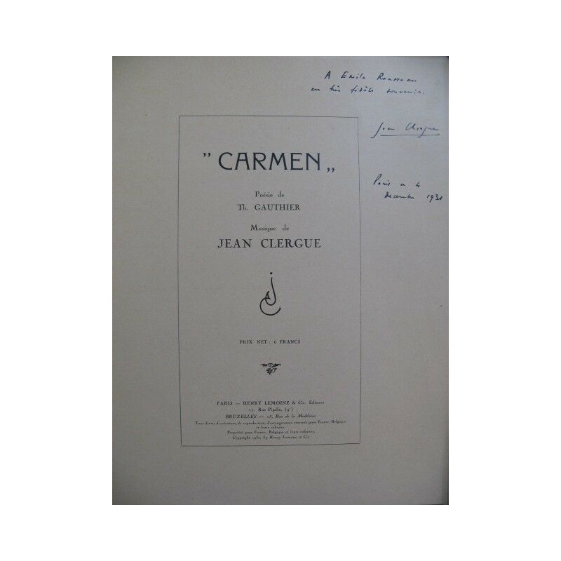 CLERGUE Jean Carmen Dédicace Chant Piano 1930 partition sheet music score