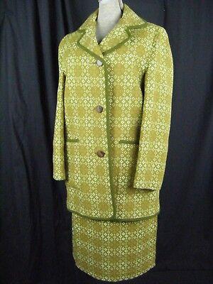 EntrüCkung Walisisch Wollen Vtg 60er Jahre Olivgrün Tapestry Mantel & Skirt-bust 36 / Blut NäHren Und Geist Einstellen