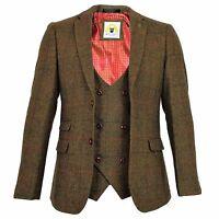 Mens Marc Darcy Designer Tweed Blazer Waistcoat Suit Slim Fit Dinner Jacket