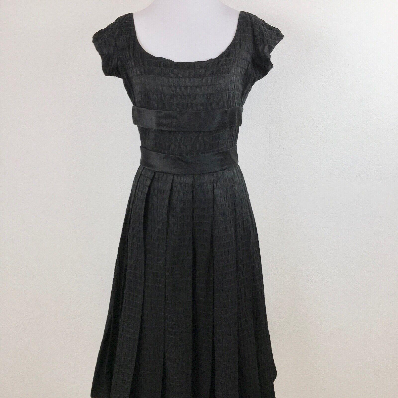 Barbara tfank Femme Fit Flare Midi robe noire taille 6 col bateau Soirée