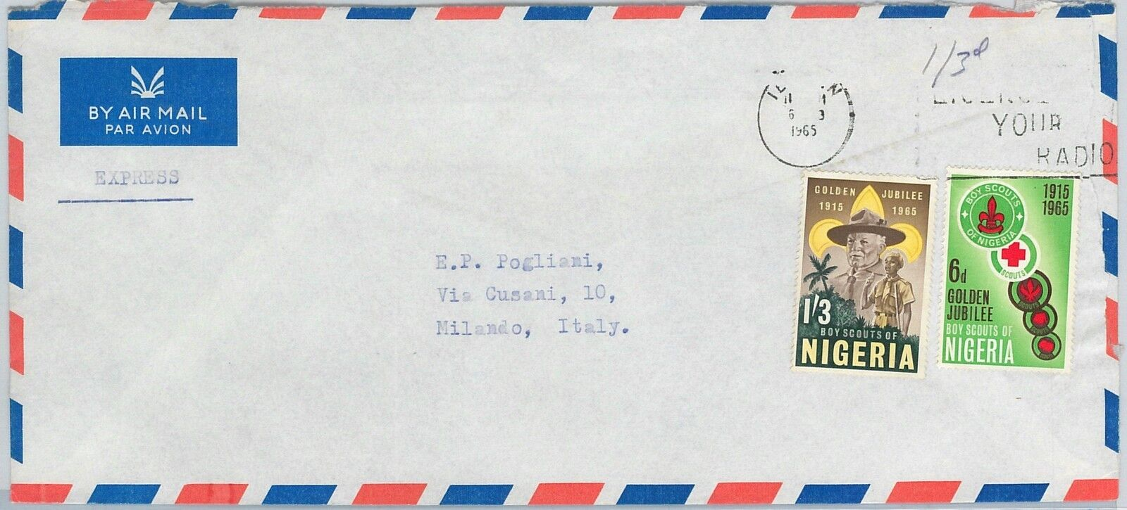 613999 - NIGERIA - POSTAL HISTORY - AIRMAIL COVER  to ITALY - 1965 BOY SCOUTS