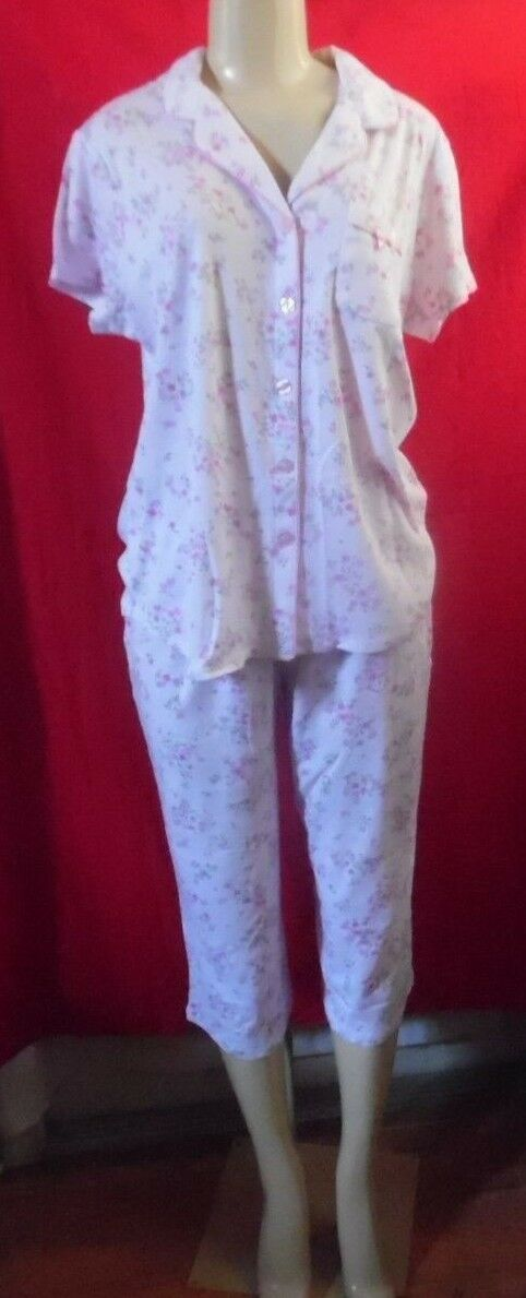KAREN NEUBURGER DITSY PINK FLORAL PAJAMAS BUTTON FRONT COLLAR TOP CROP PANTS 3X
