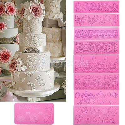 Silicone Fondant Cake Lace Sugar Craft DIY Mat Texture Flower Decorating Mold