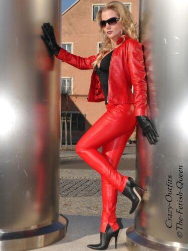 Pantalon Cuir En Cuir Pantalon knalleng rouge taille 32-58 XS-XXXL