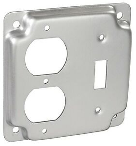4 Square Electrical Box Cover 1 Toggle Switch 1 Duplex Outlet