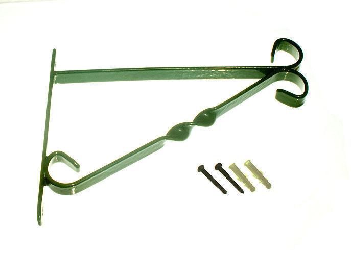 Nuevo Soporte 12 Pulgadas Cesta Colgante de acero revestido de plástico verde paquete Fijaciones