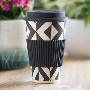 Black-Geometric-Bamboo-Fibre-Travel-Mug-450ml-Reusable-Hot-Drink-Cup-Tea-Coffee