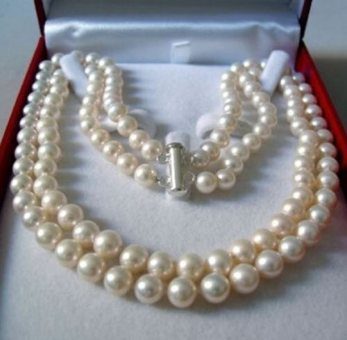 2Rows 8-9mm Natural White Akoya Cultured Pearl Hand Knotted Jewelry Necklace