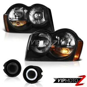 For-05-07-Jeep-Grand-Cherokee-Laredo-Headlamps-Graphite-Smoke-Fog-Light-Assembly