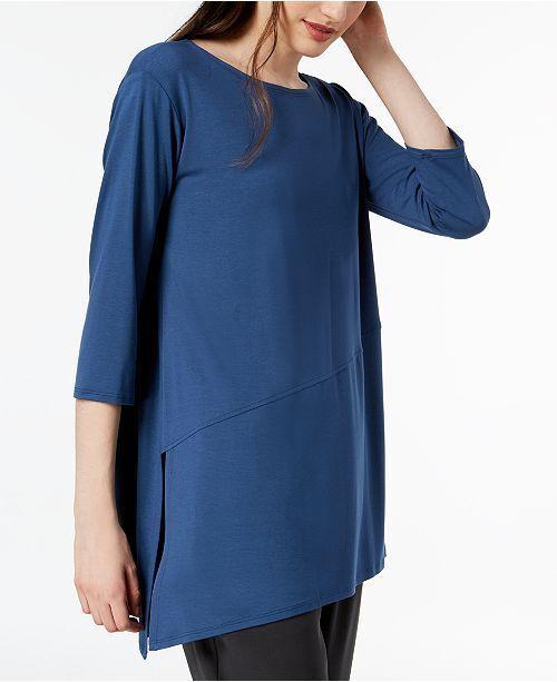 NEW Eileen Fisher Asymmetrical Jersey Tunic in Blau - Größe XS  T26