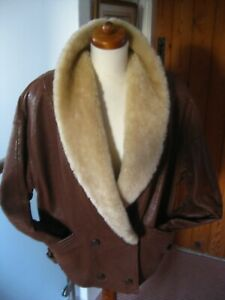 Ladies-M-amp-S-vintage-real-shearling-SHEEPSKIN-JACKET-UK-10-12-14-flying-aviator