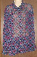 The Tog Shop Black Blouse Size 20 Blue Purple Pink Stripes Checks Sheer