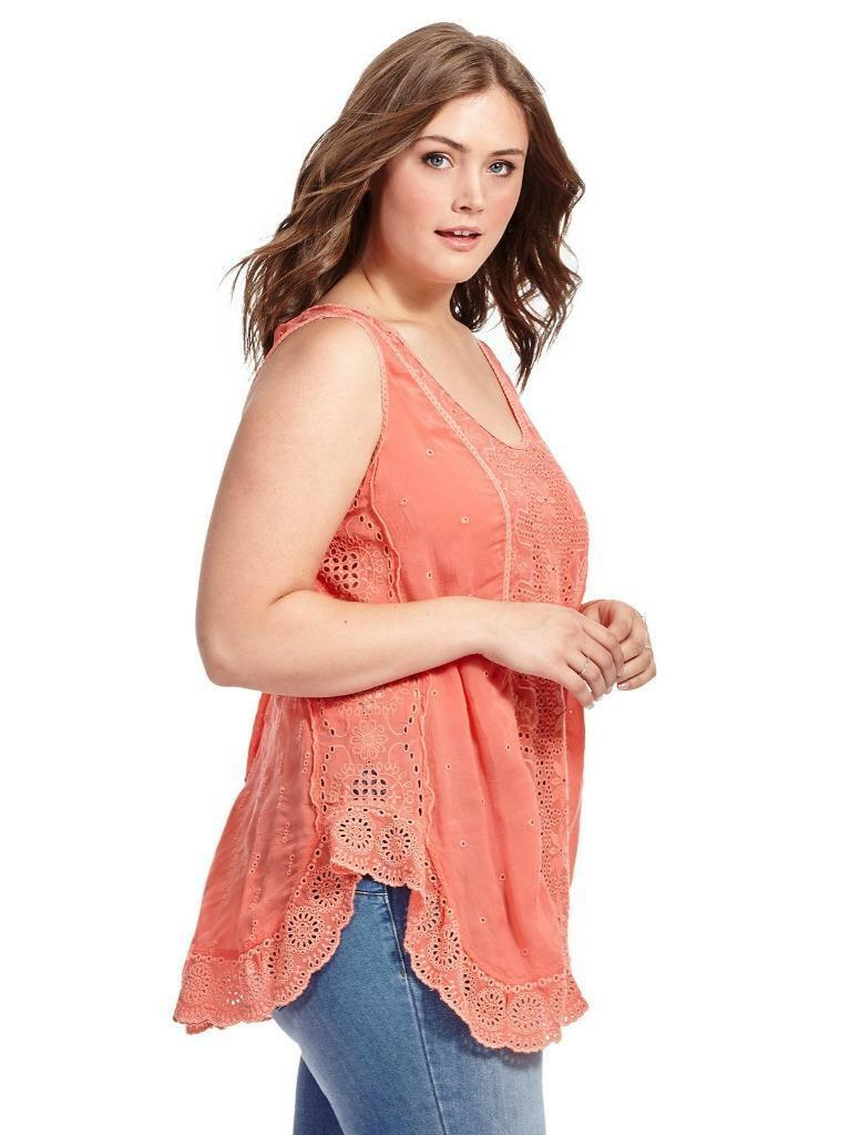 New JOHNNY WAS long embroiderot lacy eyelet tank sleeveless shirt blouse top xl
