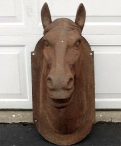 Huge-Rustic-Horse-Head-Mount-29-034-High-Reproduction-Cast-Iron-Rust