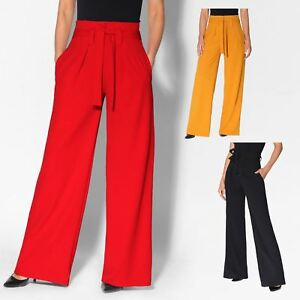Pantalon-Femme-Grande-Taille-Ceinture-Haute-Pas-Cher-Evase-Fluide-Chic-Ample