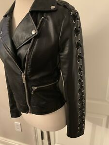 192f1575e Details about New Womens Black Unique Sleeve Vegan Leather Biker Jacket  Size Small