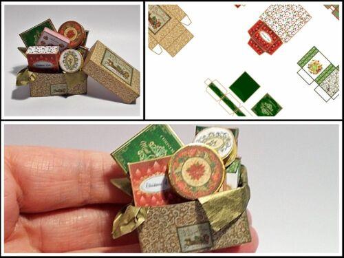 dolci REGALI, CASA delle Bambole Stampato KIT-Cesto Natale No2 cioccolatini