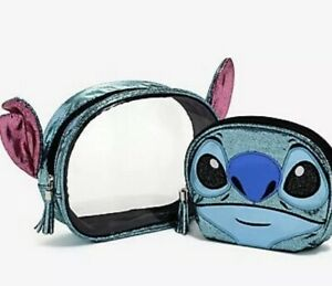 Disney-Loungefly-Lilo-amp-Stitch-Figural-Cosmetic-Bag-Set-New