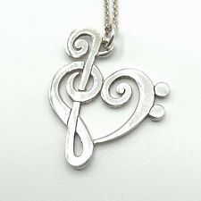 Clef Heart Charm-Argent Sterling 925-Bass Treble musique musicien Band New