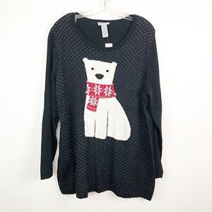 Catherines-Sweater-Womens-0X-Polar-Bear-Fair-Isle-Scarf-pullover-polka-dots-NWT