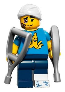 LEGO-Minifigures-Series-15-Clumsy-guy-with-crutches-suit-city-hospital-set