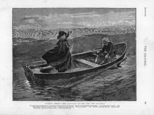 1874-Antique-Print-FINE-ART-Ninety-Three-Royalist-Leader-Boatman-Sea-164