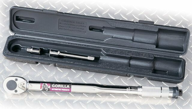 """New Gorilla Adjustable Torque Wrench 1//2/"""" Drive 5/"""" Extension 250lbs"""