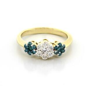 Blue-Diamond-Floral-Ring-14K-Yellow-Gold-0-63-CTW-Diamonds-Ladies-Size-5