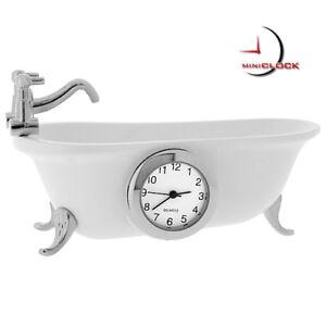 CLAWFOOT-BATHTUB-VINTAGE-STYLE-MINIATURE-COLLECTIBLE-MINI-CLOCK-GIFT