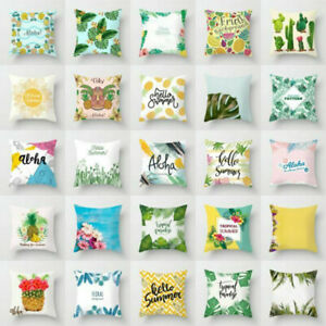 Waist-Throw-Pillow-Case-Sofa-Cushion-Cover-Home-Decor-Tropical-Plants-Polyester