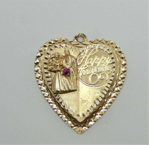 Vintage 14k Kitschy Heart Shaped Charm  Happy Anni