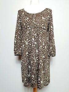 Boden-Silk-amp-Cotton-Blend-Jersey-Dress-UK-Size-12-Brown-amp-Cream-Floral-Print