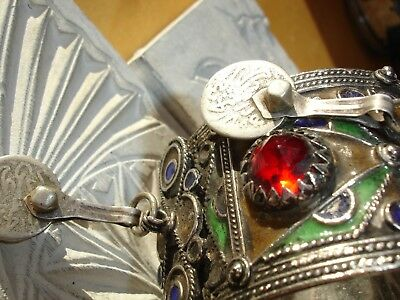 Moroccan hand made enamel jewel bracelet cuff + real silver (tested) coins