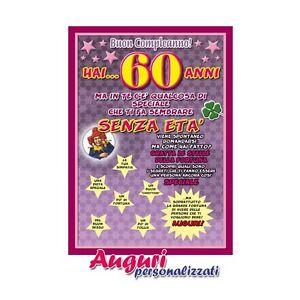 Cartolina Compleanno Auguri 60 Anni Idea Regalo Biglietto